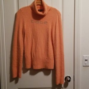 BEBE Rhinestone Orange soft sweater no damage